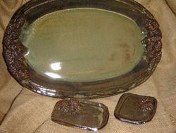 Pine Cone Platter and Soap Dishes