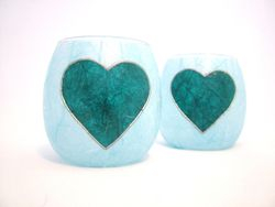 Pale Blue and Teal Country Heart