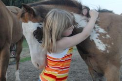Penny loved to hug the kids as a foal