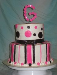 Pink and Black Monogram Cake
