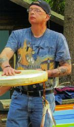 Bill blesses his drum