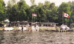 view of the campground from the river