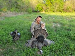 Joey's first Kansas Gobbler with dad Tim