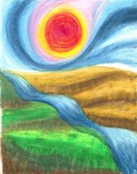 Elemental Landscape, Oil Pastel, 11x14, Original Sold