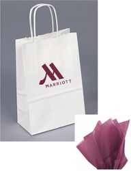 "Gift Bags with Rope Handle - Unique foil-stamped full service Marriott logo - Includes DARK RED tissue paper with every gift bag! - 8.25""H x 5.00""W x 3.50"""
