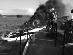 Vessel on fire in Plymouth Sound