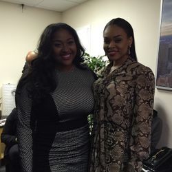 Jasmine Sullivan and Demetria McKinney on set of Arise TV 360