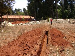 The pipeline ends near the Medical Clinic and will feed into eight 5,000 liter storage tanks