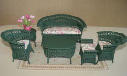 Green wicker set