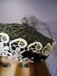 Vintage Black Straw & Lace with Netting Pill Box Style Close Up