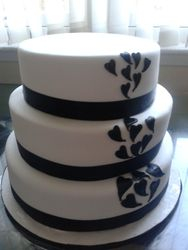 Wedding Cake with Black love hearts