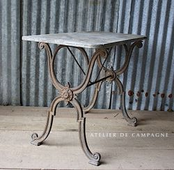 #27/110 FRENCH BRASSERIE TABLE MARBLE TOP