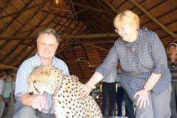 Sylvester the Cheetah licks my arm - Zimbabwe