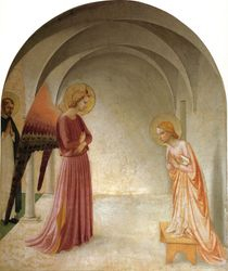 Fra Angelico, Annunciation, 1440-43, monk's cell, San Marco Monastery, Florence