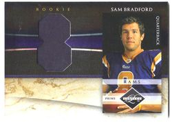 2010 LIMITED SAM BRADFORD ROOKIE CARD PRIME PATCH #8/10! HIS #