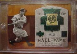 Lou  Gehrig 2005 Upper Deck Hall Of Fame Game Used Bat Card
