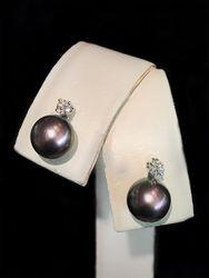 Pink black sea pearl studs with diamonds