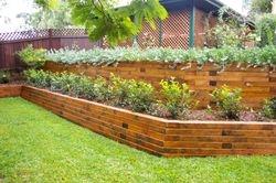 cedar 4X6 retaining wall