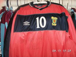 This pink Scotland shirt was worn just once vs Germany in Munich, Scotland won 0-1 with Don Hutchison scoring the winner