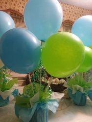 Blue Green Balloon Centerpieces