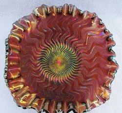 Zig Zag crimped square(ish) ruffled bowl, amethyst, radium