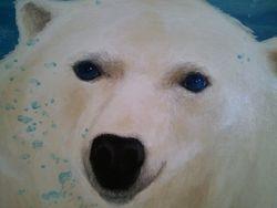 6' Wide x 5' Tall- Polar Bear Mural on canvas closeup