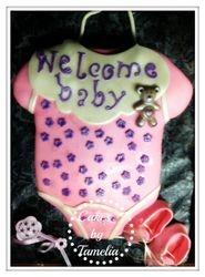 Welcome baby girl cake onesie