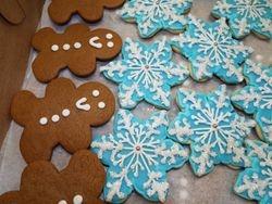 gingerbread men $1.50 each, snowflakes $3.50 each