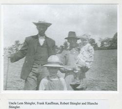 Lemuel, Robert, and Blanche Shingler with Frank Kauffman