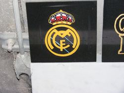 Sand blast sample design of the Real Madrid football club badge cut out by hand