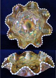 Dugan Cherries 8 ruffled bowl, peach opal