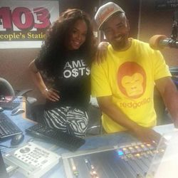 Demetria McKinney & Thomas Crawley  (Mr. Luscious) At V103's Radio Station