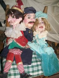 antique, hand made, hand painted puppets from1920's-1930-s philadelphia puppet theater