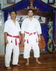 Sensei Morales with Hokama Sensei in Okinawa 2001