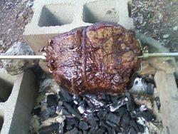 roast beef on spit