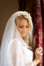 Antique wax headdress and embroidered veil