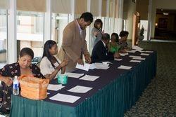 FAMU Alumni man the Welcome Table
