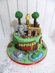 First Birthday Zoo Cake