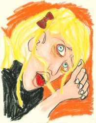 Faking A Seizure, Oil Pastel, 11x14, Original Sold