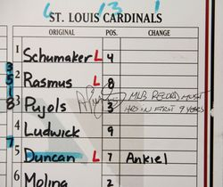 Albert Pujols Signed & Inscribed MLB Record Lineup Card July 17, 2009 MLB Record Most HRs in First 9 Years