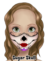 Half Face Sugar Skull Design