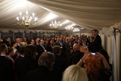Rees Mogg giving his speech during the Launch