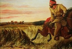 Tait, Prairie Hunter, 1852, detail, Los Angeles, Autry Museum