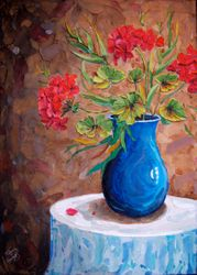 Blue Vase on Table