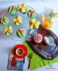 Kue bolu kukus bentuk semangka