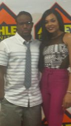 Oleus Lilly and Demetria McKinney at Hot 107.3 Jamz