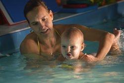 Theia swimming and mum