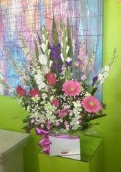 Pink, Purple and White Box Arrangement