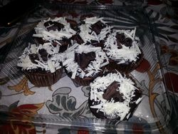 Tripe chocolate cupcakes-chocolate cupcakes filled with lava chocolate center -topped with chocolate ganache and sprinkled with chocolate shavings