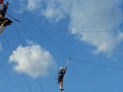 Michael takes off on zip line 2